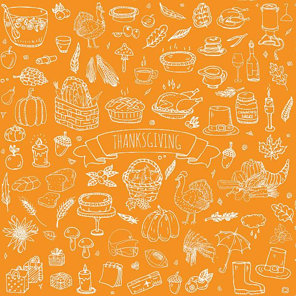 thanksgiving icons set - pumpkin pie 幅插畫檔、美工圖案、卡通及圖標