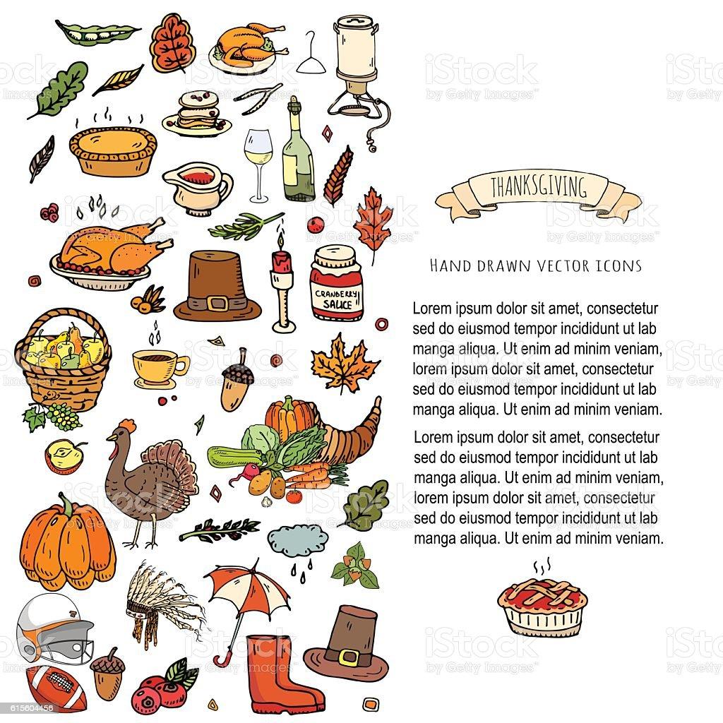 Thanksgiving icons set vector art illustration