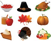 Cranberry sauce, a pilgrim hat, roast turkey, apple cider, maple leaves, pumpkin, pumpkin pie, a tom turkey and autumn vegetables. Grouped for easy editing. See similar files: