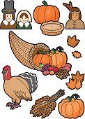 A set of Thanksgiving themed icons. Click below for more food and drink images