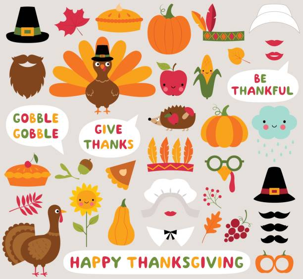 thanksgiving icons vector set (turkeys, pumpkins and other) - thanksgiving stock illustrations