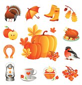 Thanksgiving illustration set. ZIP includes large JPG (CMYK 4000x4000px) PNG with transparent background.