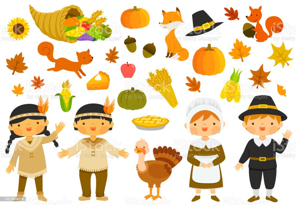 Thanksgiving illustrations set