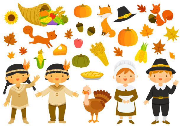thanksgiving illustrations set - thanksgiving turkey stock illustrations