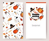 Thanksgiving invitation cards in 80s retro style. Happy thanksgiving posters. Vector illustration