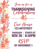 Thanksgiving Invitation on Chestnut Leaf Vector Watercolor and Ink Seamless Pattern Design