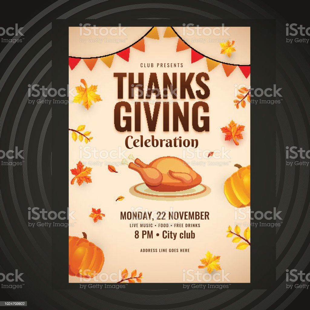 thanksgiving invitation template or flyer design decorated with