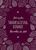 Thanksgiving invitation template - Illustration