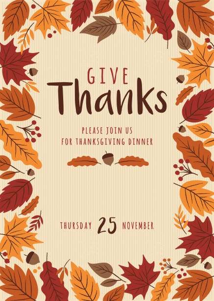 Thanksgiving invitation template. Thanksgiving invitation template. - Illustration fall background stock illustrations