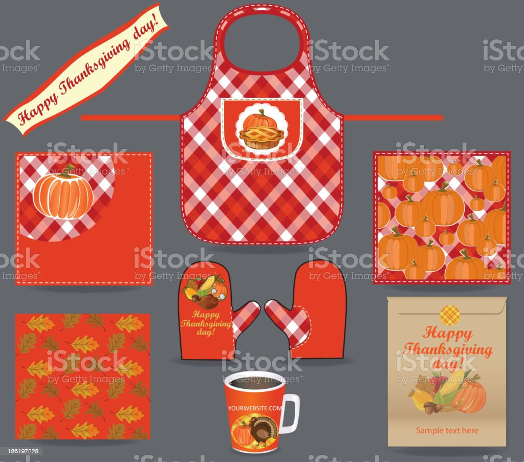 Thanksgiving kitchen set royalty-free thanksgiving kitchen set stock vector art & more images of apron