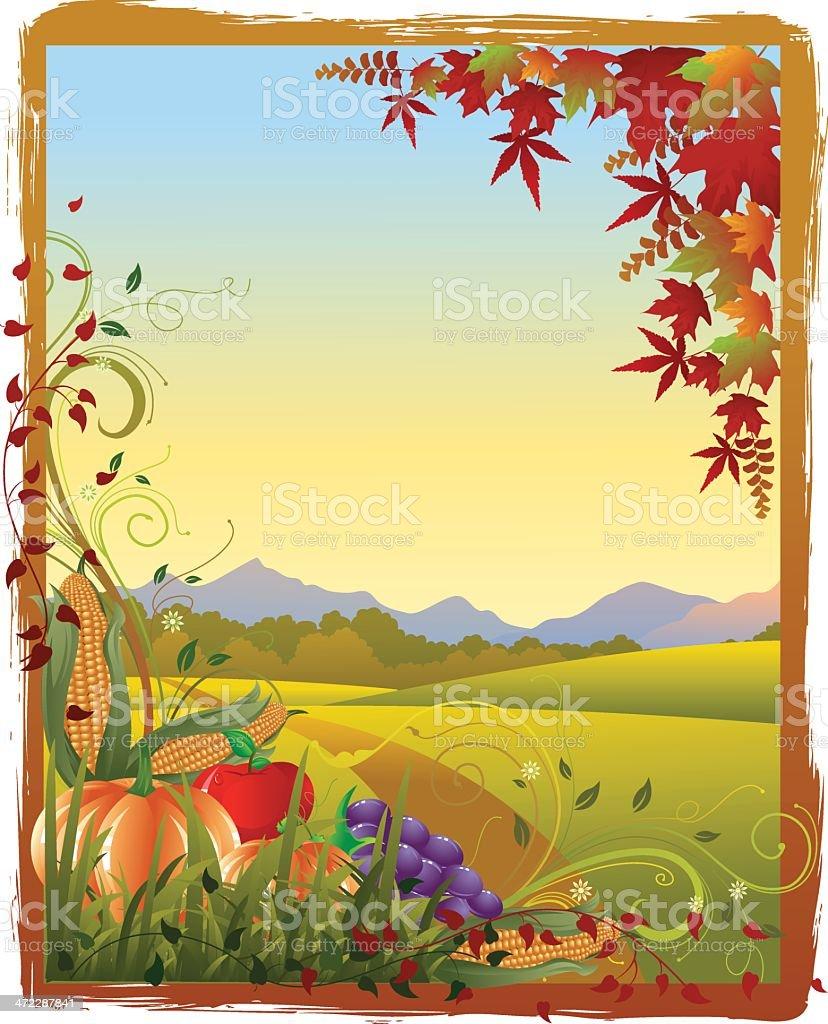 Thanksgiving Landscape vector art illustration