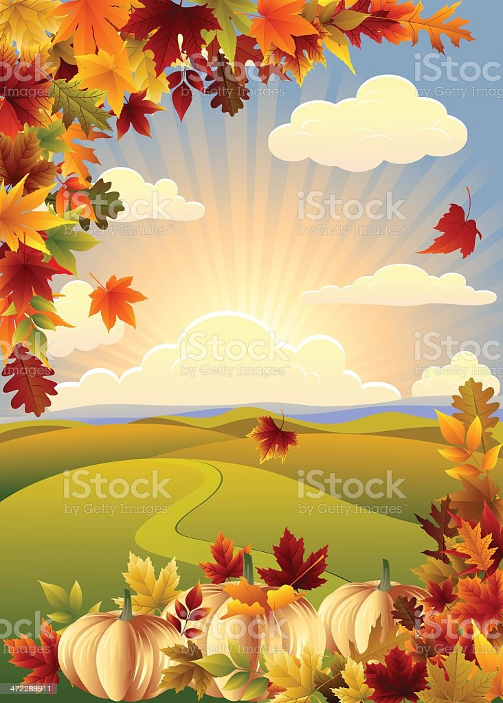 Thanksgiving Landscape royalty-free stock vector art