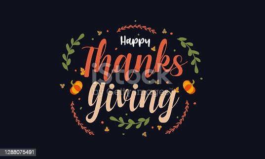 istock Thanksgiving lettering card on black background with leaf 1288075491