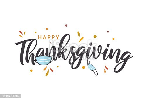 istock Thanksgiving lettering card with face mask. Vector 1286006940