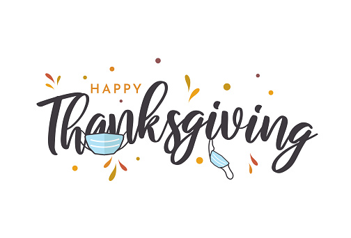 Thanksgiving lettering card with face mask. Vector