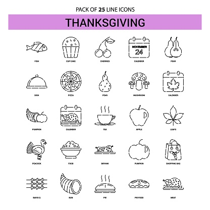 Thanksgiving  Line Icon Set - 25 Dashed Outline Style