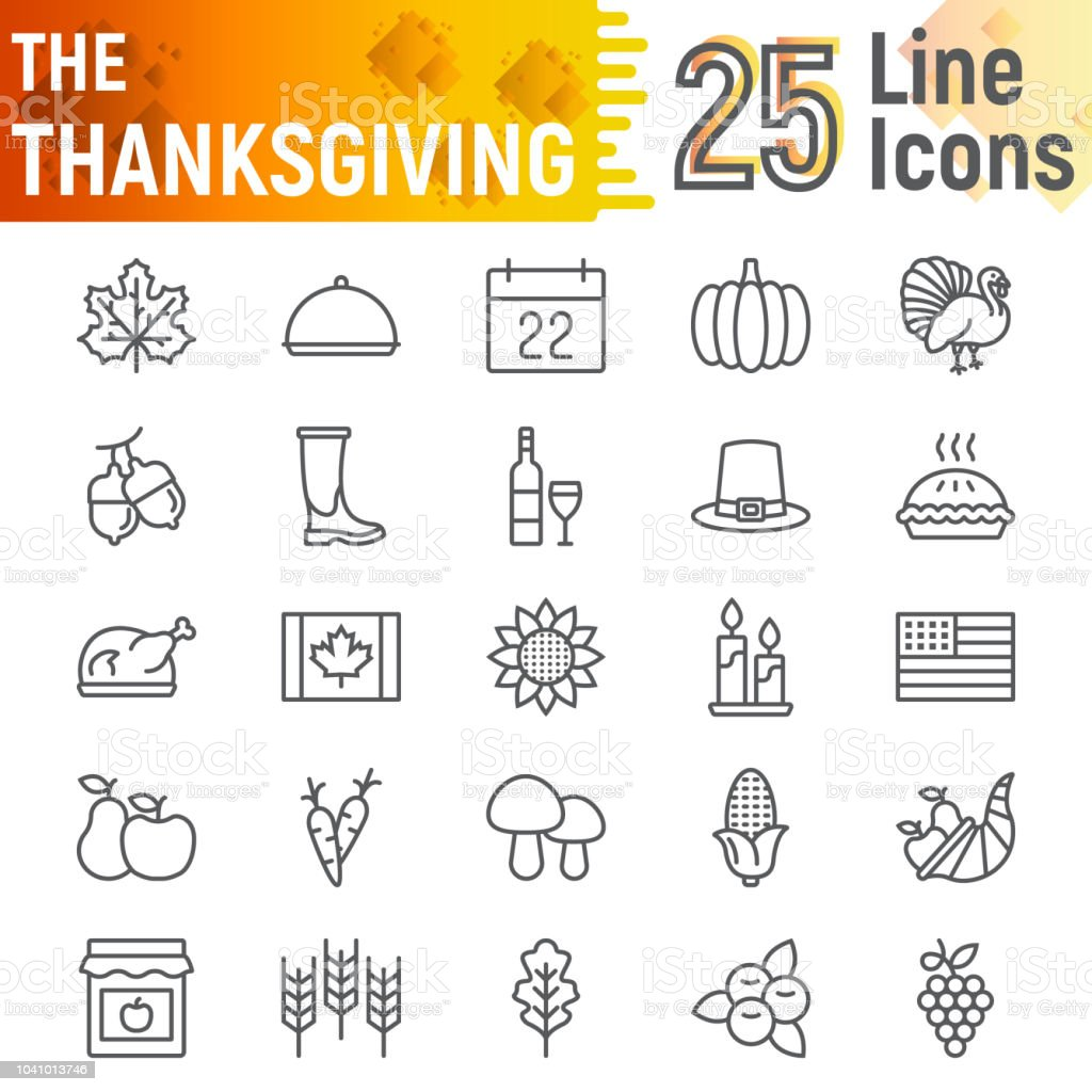 Thanksgiving Line Icon Set Holiday Symbols Collection Vector
