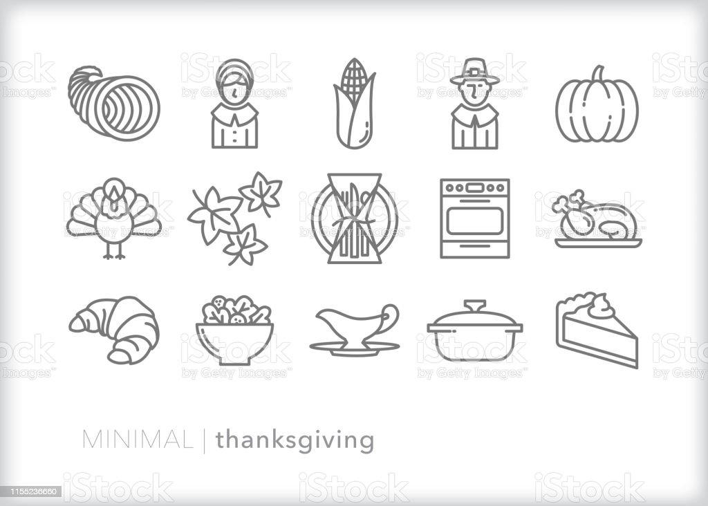 Conjunto de iconos de línea de Acción de Gracias - arte vectorial de Calabaza gigante libre de derechos