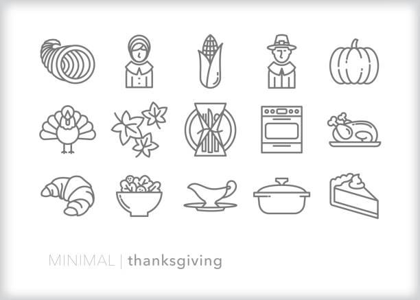 thanksgiving line icon set - thanksgiving turkey stock illustrations