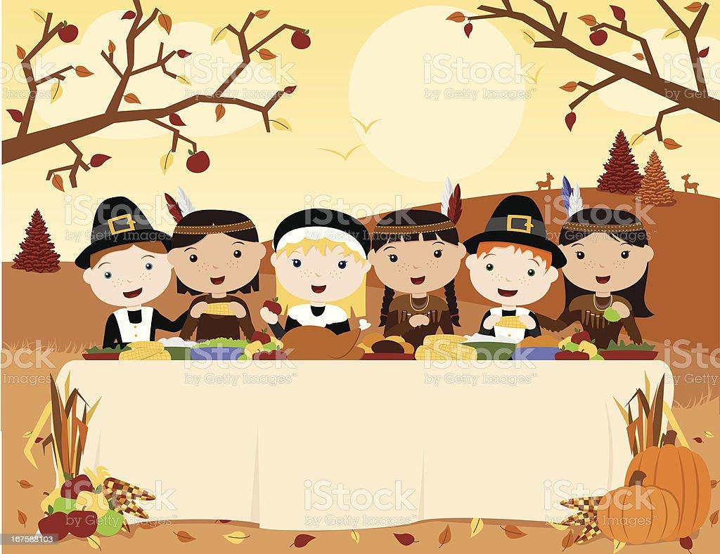感謝祭のお食事の風景 まぶしいのベクターアート素材や画像を多数ご