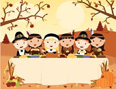A vector illustration of Native Americans and Pilgrims sharing a thanksgiving meal. Objects are grouped and layered for easy editing. Files included: AICS5, EPS8 and Large High Res JPG.