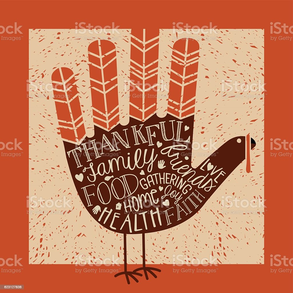 Thanksgiving messages on cute hand print turkey vector art illustration