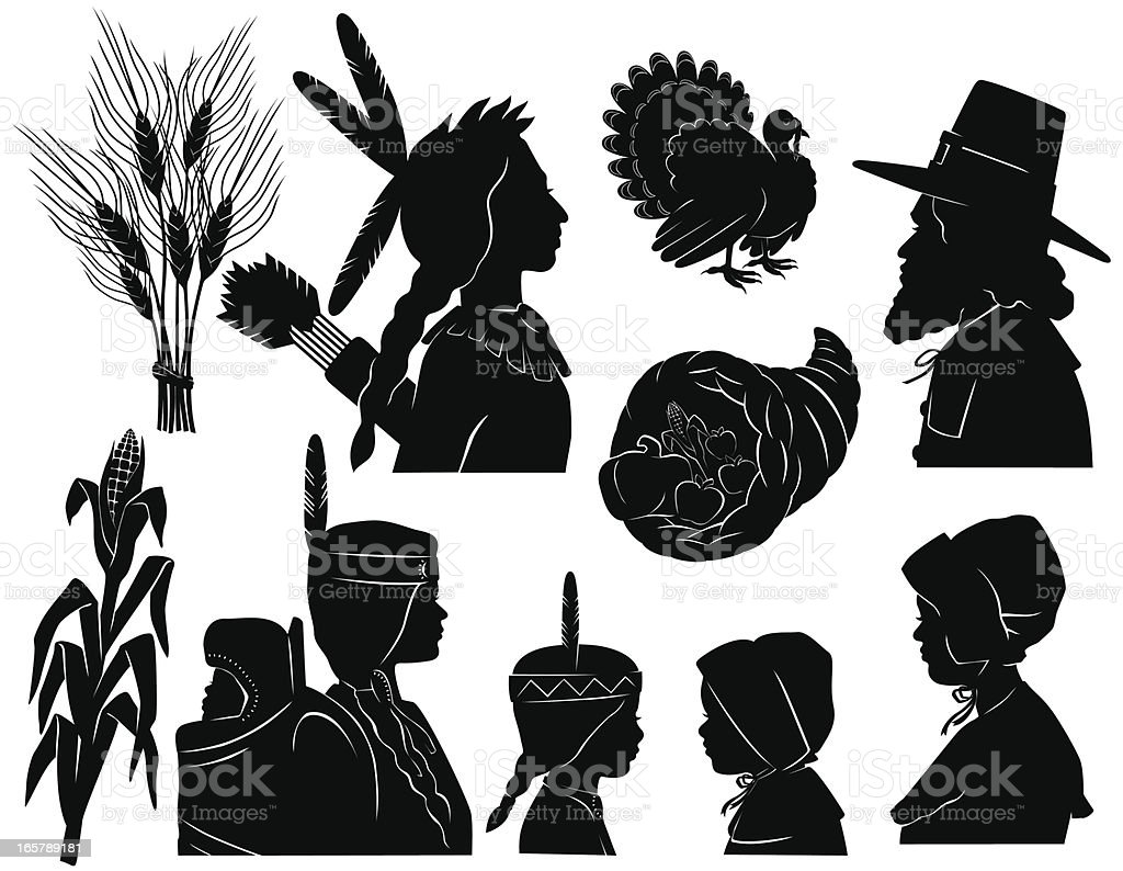 Thanksgiving Native Americans and Pilgrims royalty-free stock vector art