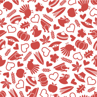 Thanksgiving - One Color Seamless Pattern