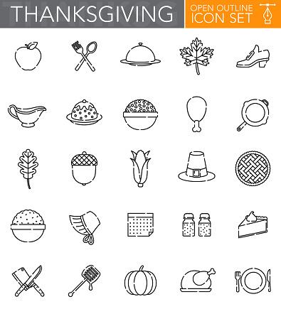 Thanksgiving Open Outline Icon Set