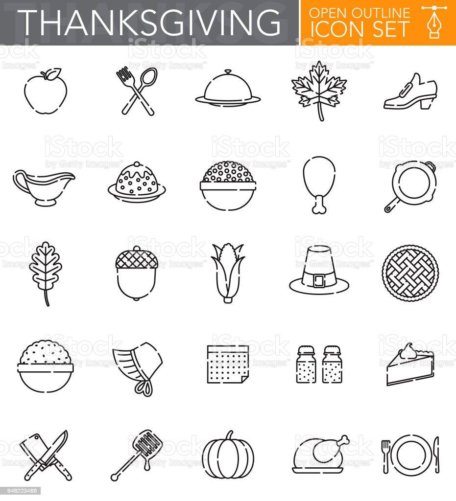 Thanksgiving Open Outline Icon Set vector art illustration