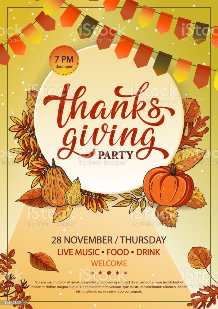 Thanksgiving Party Poster Or Flyer Design With Hand Lettering Label Stock Illustration Download Image Now Istock