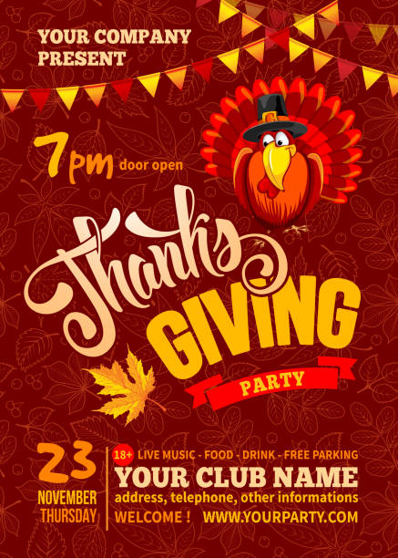 thanksgiving party poster template - thanksgiving turkey stock illustrations
