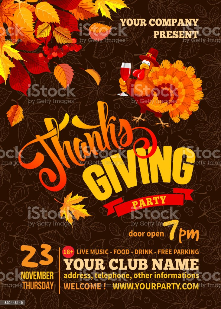 Thanksgiving Party Poster Template Stock Illustration Download Image Now Istock