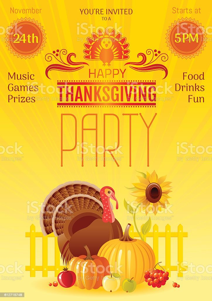 thanksgiving party vector illustration autumn thanks giving festival