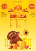 Thanksgiving party vector illustration. Autumn thanks giving festival flyer invitation