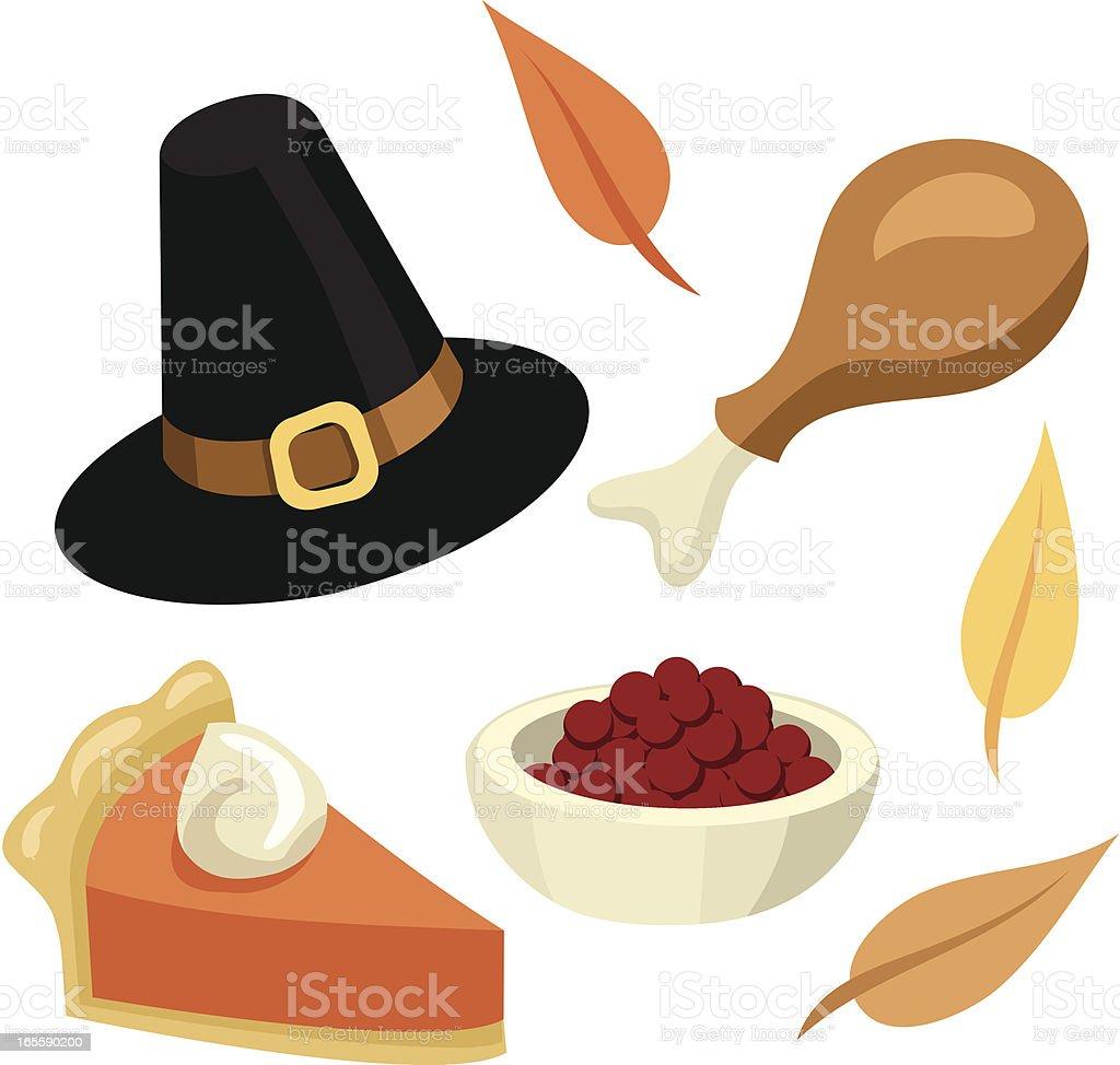 Thanksgiving Pictures: Pumpkin Pie, Turkey, Cranberries, Leaves, Pilgrim Hat royalty-free stock vector art