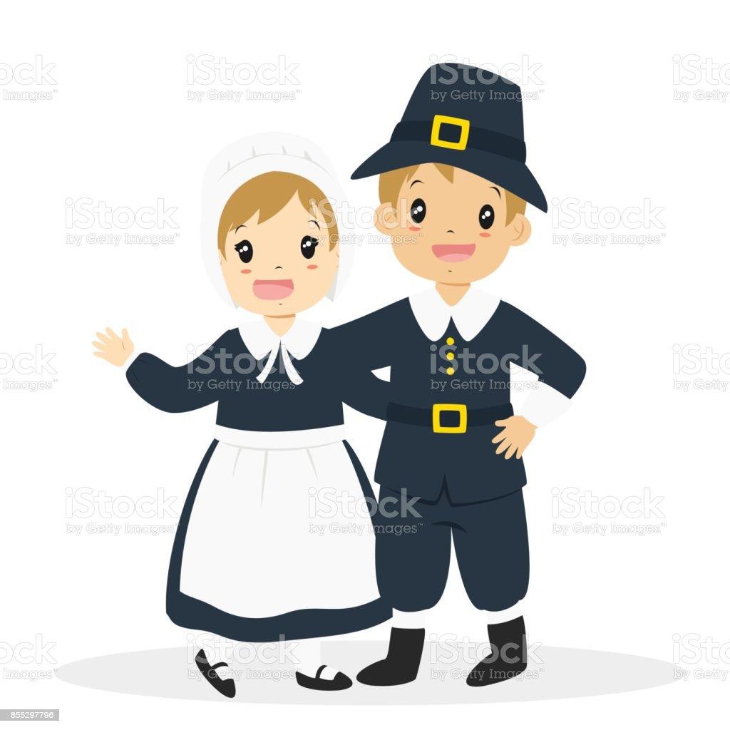 Thanksgiving Pilgrim Couple Cartoon Vector vector art illustration