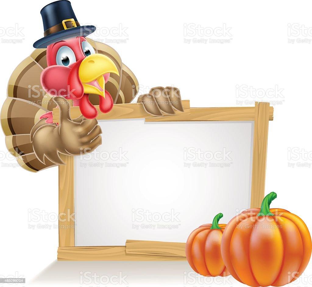 Thanksgiving Pilgrim Hat Turkey Pumpkin Sign vector art illustration