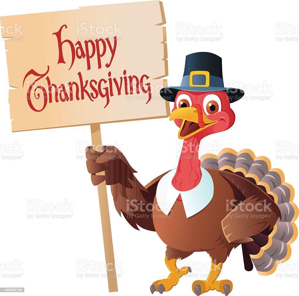 thanksgiving pilgrim turkey holding sign cartoon stock vector art