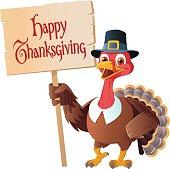 Thanksgiving Pilgrim Turkey Holding Sign - Cartoon