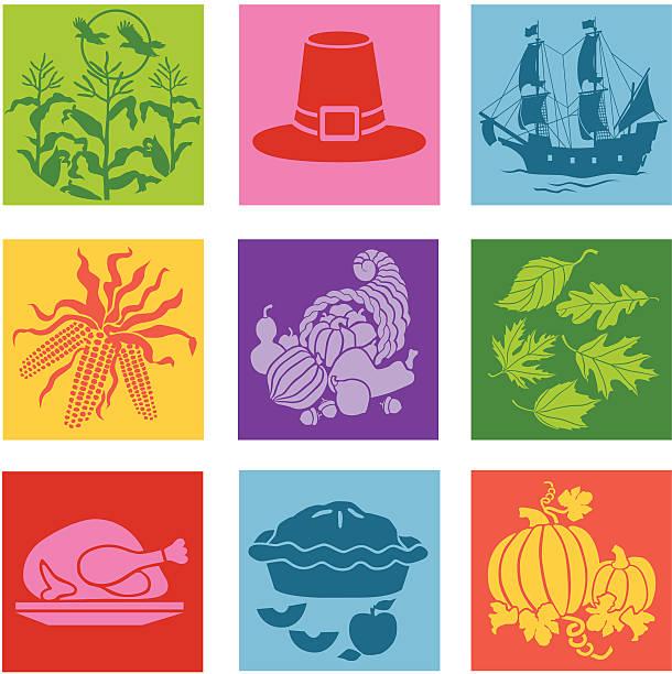 thanksgiving значки в стиле поп-арт - pumpkin pie stock illustrations
