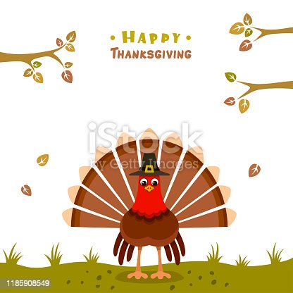 Thanksgiving Poster. Turkey with pilgrim hat.
