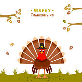 istock Thanksgiving Poster. Turkey with pilgrim hat. 1185908549
