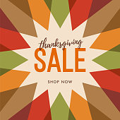 Thanksgiving promotional sale design with sun. Template sale design for print or web. stock illustration