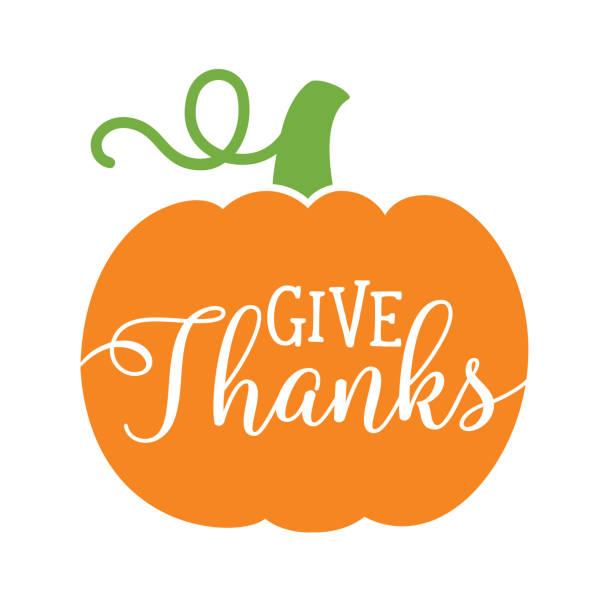Thanksgiving Pumpkin Vector Illustration Pumpkin with text Give Thanks. Thanksgiving pumpkin vector illustration. pumpkin stock illustrations