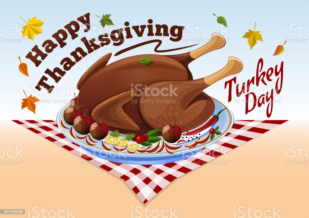 Thanksgiving roast turkey vector art illustration