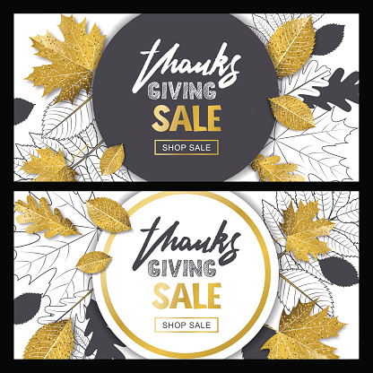 Thanksgiving sale banner set with 3d style gold and outline autumn leaves. Vector fall poster golden background.