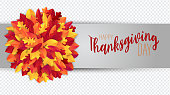 Thanksgiving sale banner, website header or newsletter cover overlay for a custom image. Red and orange fall leaves realistic vector illustration with lettering.
