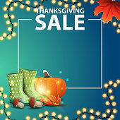 istock Thanksgiving sale, blue template with place for your text, rubber boots, pumpkin, mushrooms and autumn leaf 1262607347