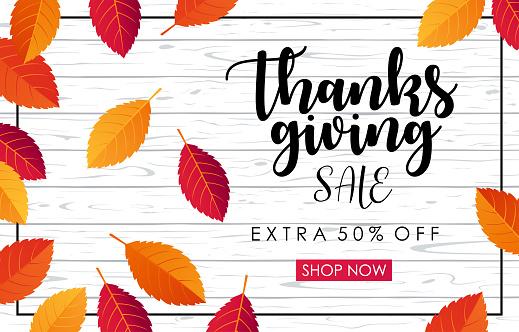 Thanksgiving Sale Horizontal Banner - vector illustration